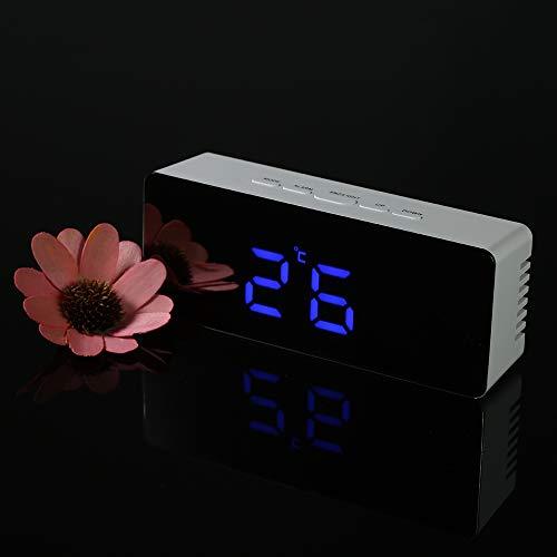 Walmeck- Led Espejo Reloj Digital con Termómetro de Interior, 12h/24h Alarma y Snooze