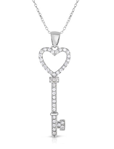 Heart Key Open - Sterling Silver Open Heart Key Pendant Necklace, 18