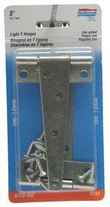5''x5-27/32''Zinc Finish Steel LT Tee Hinge 2 pack