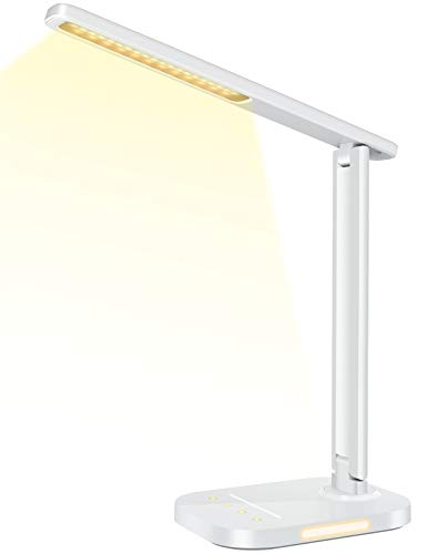 LITOM LED Desk Lamp, Eye-Caring Office Table Lamps with Night Light, 10 Brightness, 5 Color Temperature, USB Charging Port, 1H Timer, Touch Control, Memory Function for Reading, Work, Study (White)
