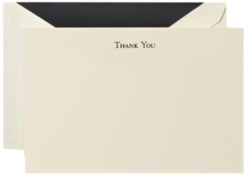 - Crane & Co. Black Hand Engraved Thank You Cards (CT3302)