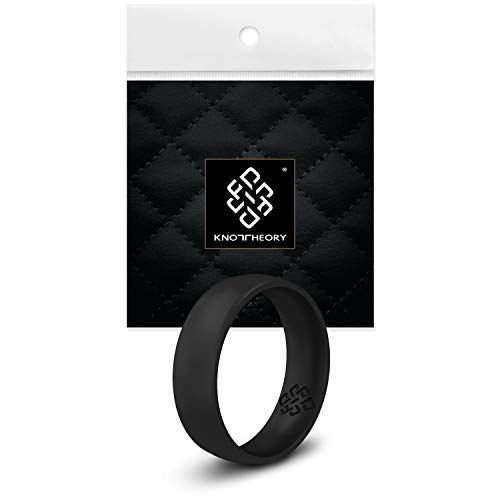 Knot Theory Silicone Wedding Ring for Men - Comfort Fit 6mm Black Band Size 14 ()