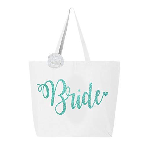 Classy Bride Glitter Bride Tote Bag - White and Robin's Egg Blue