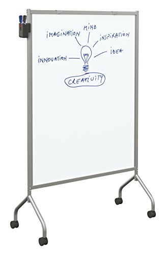 (Balt Essentials Double Sided Magnetic Mobile Whiteboard Easel, Platinum Frame, 71.75