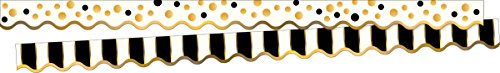 Barker Creek Double-Sided Border/Scalloped Edge 2 Pack - Gold Bars (BC3697) ()