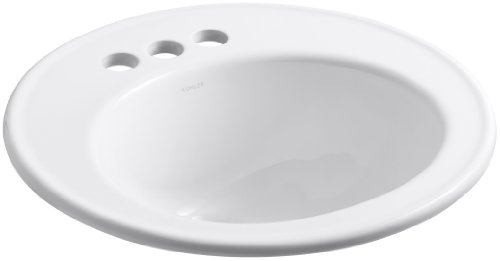 KOHLER K-2202-4-0 Brookline Self-Rimming Bathroom Sink, White