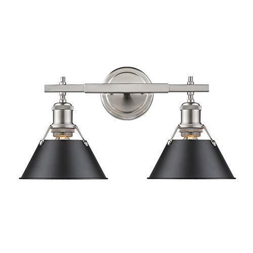 Golden Lighting 3306-BA2 PW-BLK Two Light Bath Vanity, Slvr