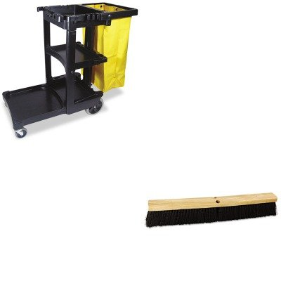 KITBWK20624RCP617388BK - Value Kit - Boardwalk Floor Brush Head (BWK20624) and Rubbermaid Cleaning Cart with Zippered Yellow Vinyl Bag, Black (RCP617388BK) by Boardwalk