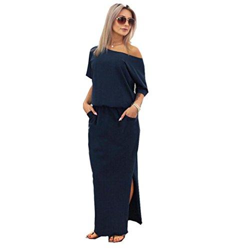 (FEITONG Women Summer Long Maxi Boho Evening Party Dress with Pocket(Medium,Short Sleeve-Navy))