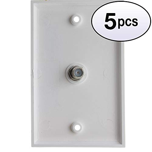 Hd15 Jack Pin (GOWOS (5 Pack) TV Wall Plate with 1 F-pin Coupler, White)