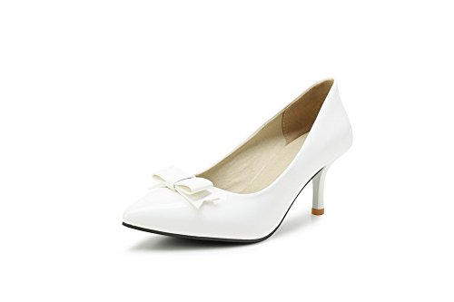 BalaMasa Womens Bows Pointed-Toe Spikes Stilettos Pleather Pumps Shoes White Q2QE77IgNH
