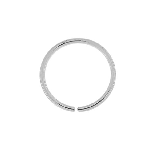 14 Karat Solid White Gold 22 Gauge (0.6MM) - 1/4 Inch (6MM) Length Seamless Continuous Nose Hoop Ring (White Gold Nose Hoop 22 Gauge)