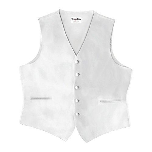 White Satin 5 Button Full Back Vest
