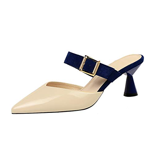 Drew Toby Women Pumps Fashion Thick Heel Patent Leather Shallow Pointed-Toe Slippers