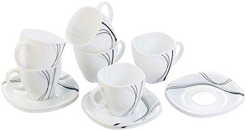 Rosenstein & Söhne Opalglas-Kaffeetassen & Untertassen, Linien