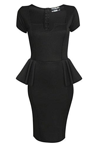 Pilot Plaza V Cut Cuello Peplum Vestido ajustado en Negro Negro