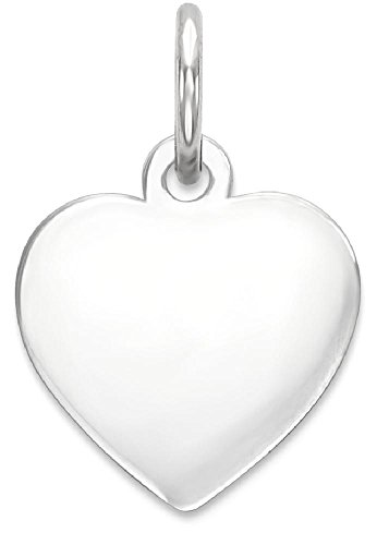 Sterling Silver Heart Disk - ICE CARATS 925 Sterling Silver Engraveable Heart Disc Pendant Charm Necklace Engravable Simple Shaped Plain Fine Jewelry Gift Valentine Day Set For Women Heart