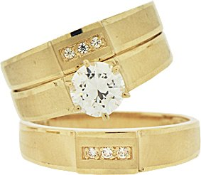 Yellow Gold Plated, Trio 3 Piece Wedding Ring Set with Round Center Lab Created Gems