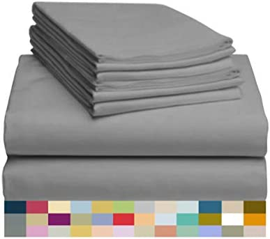 """LuxClub 6 PC Sheet Set Bamboo Sheets Deep Pockets 18"""" Eco Friendly Wrinkle Free Sheets Machine Washable Hotel Bedding Silky Soft - Light Grey Queen"""
