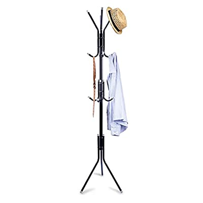 Clewiltess Standing Entryway Coat Rack Coat Tree Hat Hanger Holder 12 Hooks Jacket Umbrella Tree Stand Base Metal (Black… - 【CLASSICAL FINISH】- With steel tube processed by baking varnishing process,the stand is water-proof and anti-rust to ensure a long service life. 【4-TIER HOOKS】 - 12 large and strong hooks ( 3-layer ) are prefect for hold coats, jackets, hats, scarves, purses, clothing,each hook is capable of holding up to 10lbs 【END CAP DESIGN】- Each hook has a protective end cap to prevent your clothes from tearing or slipping, great Ideal in the foyer, living room, family room, entryway, bedroom, dorm or office - entryway-furniture-decor, entryway-laundry-room, coat-racks - 31IX HUqSrL. SS400  -