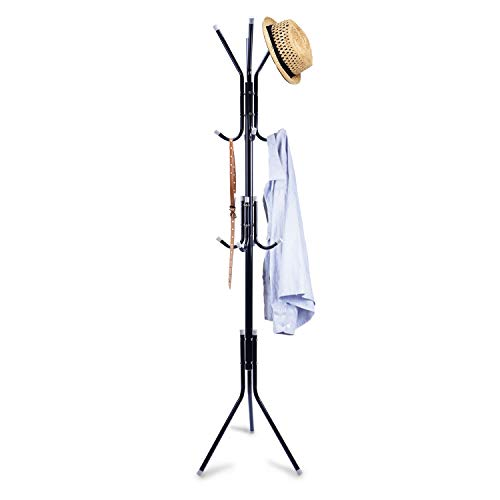 Clewiltess Standing Entryway Coat Rack Coat Tree Hat Hanger Holder 12 Hooks Jacket Umbrella Tree Stand Base Metal (Black)