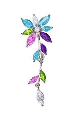 - Multicolor Jeweled Flower FLOWERING IVY Dangle Reverse Top Mount Belly button Navel Ring 14 gauge