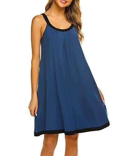 Ekouaer Comfy Short Night Gowns Shirts Women's Scoop Neckline Pleated Sleeveless Dress Juniors (Navy,X-Large)