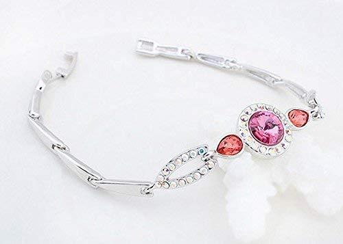 Women Elegant Leng Elegant Pretty Bracelet Extravagance Luxury Women's Crystal Bracelet (Rose)
