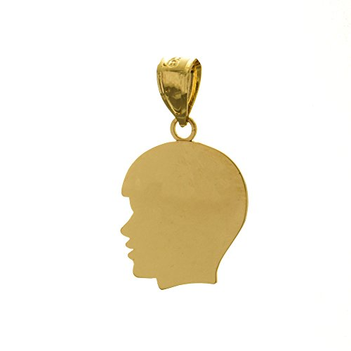 Boy Head Silhouette Charm - 14k Yellow Gold Engraveable Charm Pendant, Medium Boy Head Silhouette, High Polish
