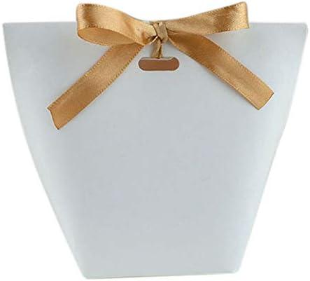 Naliovker 50Pcs Bolsa de Papel Kraft en Blanco Bolsa de Dulces Favores de Boda Paquete de Caja de Regalo Bolsas de DecoracióN de Fiesta de Cumplea?Os con Cinta Blanca: Amazon.es: Hogar