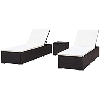 Amazon Com Festnight Set Of 3 Outdoor Sun Lounger Set