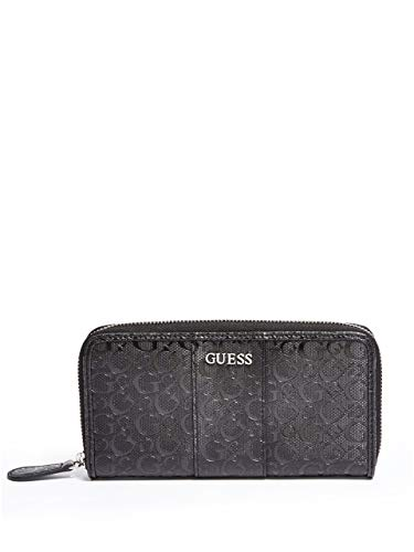 Guess Factory Women's Ware Patent Silver Logo-Embossed Zip Around Wallet ()