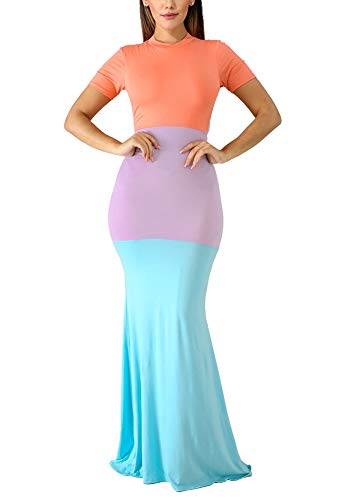 LETSVDO Womens Short Sleeve Party Dresses Beach Color Block Splice Cocktail Maxi Dress Orange