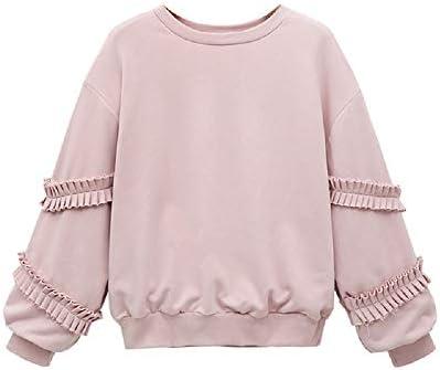 Nueva Primavera Sudadera para Mujer Rosa Suelta Tops Manga Larga Cuello Redondo túnica Camisas Blusas Camiseta Camisa Blusa (Color : Rosado, tamaño : Metro): Amazon.es: Hogar