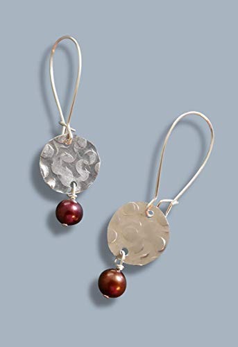 - handmade lightweight womens cranberry pearl drop earrings
