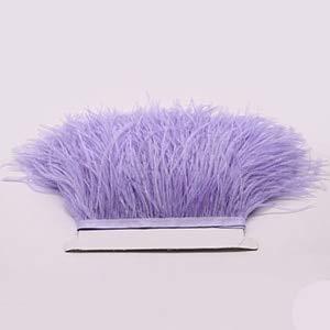 Maslin 10-15cm Hot Sale Dyed Leather Light Purple Ostrich Feathers Fringe Trims Natural Plumage Ribbon Trim for Costume Dress - (Color: Light Purple, Size: 5 Meter)