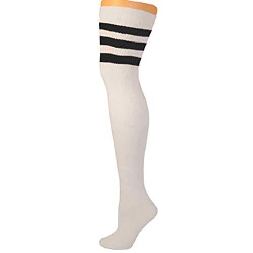 AJs Retro Thigh High Tube Socks - White, Black -