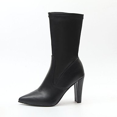 Blanco 3 Vestimenta Informal 3a Moda Polipiel Negro 3 Invierno Mujer Chunky Pulg 4 Otoño Black Confort La Talón Botas 0w716xq