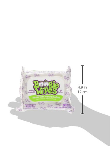 Large Product Image of Boogie Wipes Soft Natural Saline Wet Tissues for Baby and Kids Sensitive Nose, Hand, and Face with Moisturizing Aloe, Chamomile, and Vitamin E, Unscented, 30 Count (Pack of 3)