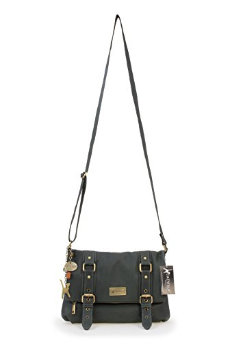 ROAD Oscuro Bolso ABBEY Verde bandolera CATWALK COLLECTION Cuero BqTWZZ