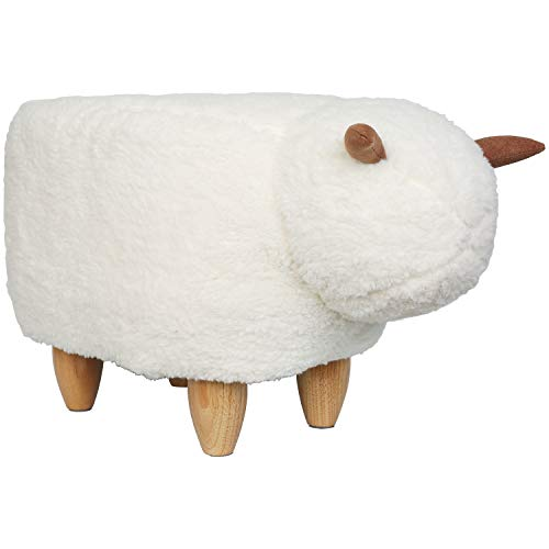 eclife Ottoman Upholstered Ride-on Animal-Like Footrest Stool, Vivid Cute Velvet Animal-Like Ottoman D04 White Sheep