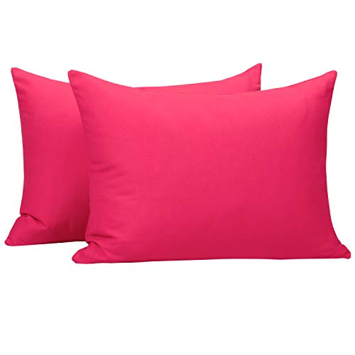 NTBAY Microfiber Zippered Toddler Pillowcases, 2 Pack Travel Pillow Covers, 13 x 18 Inches, Magenta