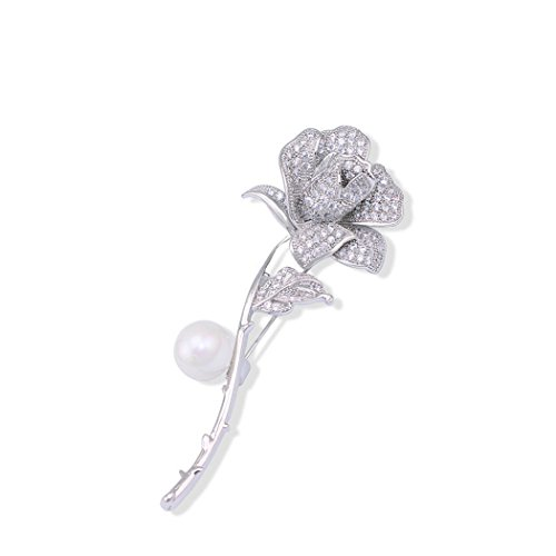 Whiteswallow Rose Brooch Pins Vintage Rhinestone Pearl Jewelry for Women