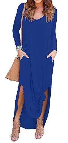 Short Dresses Pocket Maxi Sleeve A Women's Split Blue 04 Loose Royal GRECERELLE long Dress Casual Long Sleeve qRHcwY