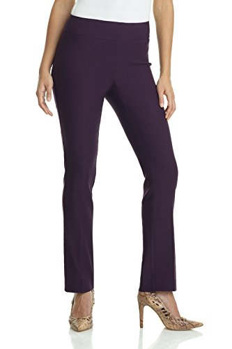 Rekucci Women's Ease in to Comfort Straight Leg Pant with Tummy Control (4,Deep - Purple Pants Stretch