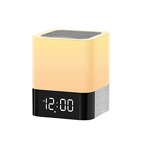 Night Light Bluetooth Speaker, Touch Sensor Bedside Lampwith Color Changing Mode & Dimming Function, USB Flash Drive/MicroSD/AUX Support