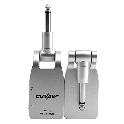 Wireless Guitar System Rechargeable Transmitter Receiver Set 2.4G Wireless Built-in Rechargeable Lithium Battery 30M Transmission Range for Electric Guitar Bass (Silver)