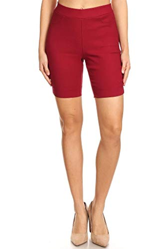 Jvini Women's High Waist Pull-On Skinny Super Stretchy Walk Bermuda Shorts Burgundy Medium