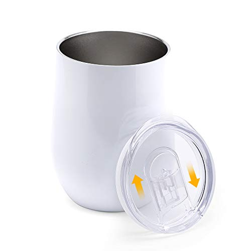 Insulated Wine Tumbler with Lid, Elekin Double Wall Stainless Steel Stemless Wine Tumbler,Durable Insulated Coffee Mug, for Mother's Day Best Gift 12oz (White) ()