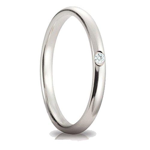 design innovativo 98cd1 9c94b Fedina in argento 925 con brillante Cubic Zirconia di colore bianco  diamante. Anello donna con zircone color bianco diamante pure white, grammi  2.50 ...